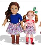 Free sewing pattern for a gathered doll skirt (American Girl 18 inch) \